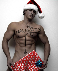 Nearly naked guy in Santa hat holds present. The words Nice and Naughty are written across his chest.
