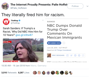"""They literally fired him for racism.""  WH used NBC gig as proof Trump isn't racist, headline from 2015 of NBC firing Trump from show because of his racist comments."