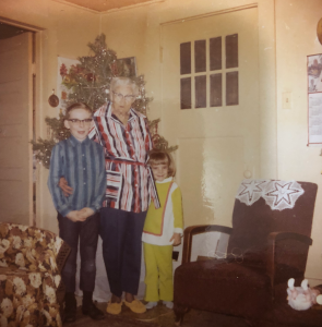 My sister and I with Great Grandma St, John. I'm 9, my sis is 4, and Great-grandma is 74 in this picture.