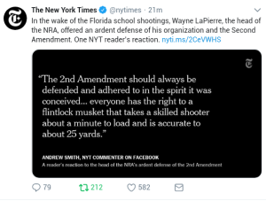 """The 2nd Amendment should always be defended and adhered to in the spirit in which it was conceived... everyone has a right to a flintlock musket that takes a skilled shooter about a minute to load and is accurate to about 25 yards."""