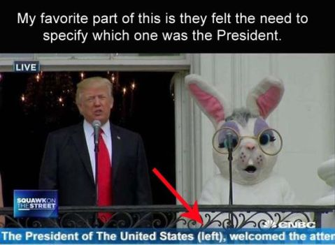 """My favorite part of this is they felt the need to specify which on is the President."" A news still of Trump on the balcony of the White House with a person in an Easter Bunny costume while the President was shooting off his mouth with more nonsense. ""My favorite part of this is they felt the need to specify which on is the President."""