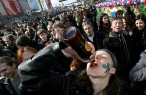"A couple months ago Newsweek used this picture to illustrate a story entitled, ""The Street Skirmishes, Bar Brawls and Drunken Violence of American St. Patrick's Day"""