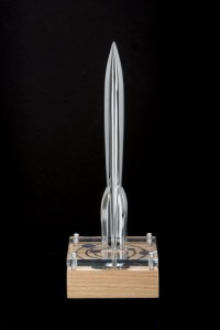 The 2016 trophy, awarded at MidAmericaCon II, designed by Sarah Felix. photographed by Fred Teifeld.