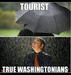 Picture of a person under an umbrella in heavy rain, labeled Tourists. Below, a man stands in the rain, head tilted up, eyes closed, labeled True Washingtonians.