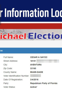 Voter registration in Florida is a matter of public record, and look which party the mad bomber belongs to...