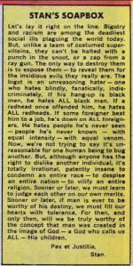 This is former Marvel Comics editor Stan Lee addressing racism in a 1968 edition of Stan's Soapbox (a feature that was printed on the letters page of most of the Marvel comic books at the time) after the assassinations of Robert F. Kennedy and Martin Luther King, Jr.