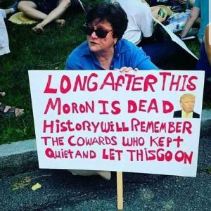 "Woman holds sign at Trump protest: ""Long after this moron is dead, history will remember the cowards who kept quiet and let this happen."""