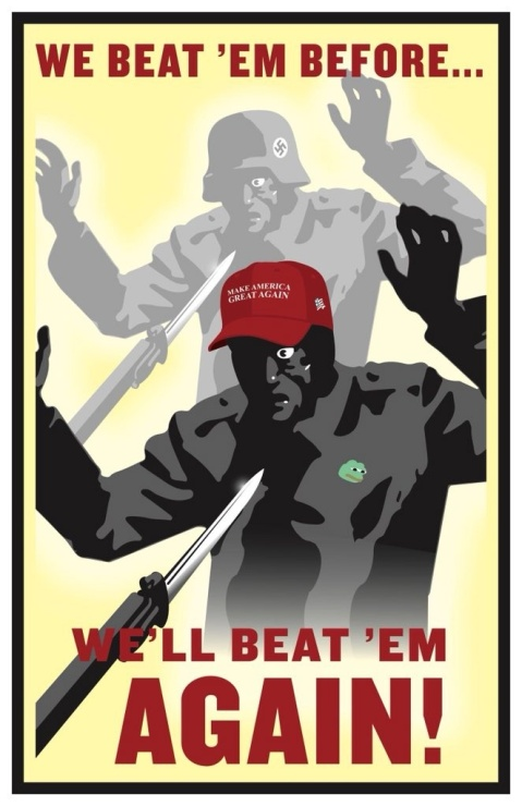 "Two images, one, a soldier in a Nazi uniform holding up his hands in surrendeder while a gun with a bayonet is pointed at him. The other, a man in a MAGA hat also holding his hands in surrender because of a bayoneted rifle. ""We beat 'em before. We'll beat 'em again!"""