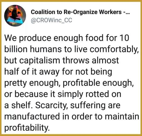 """we produce enough food for 10 billion humans to live comfortably but capitalism throws almost half of it away for not being pretty enough, profitable enough, or simply because it rotted on the shelf. Scarcity, suffeering are manufactured in order to maintain profitability."""
