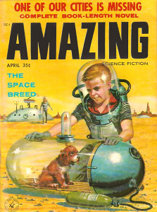 April, 1958 issue of Amazing Science Fiction. Cover art by Ed Valigursky