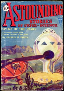 The February, 1930 cover of Astounding Stories of Super-Scinece, cover art by  H. W. Wesso. In 1930 the magazine's editor was Harry Bates.