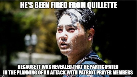 He's been fired from Quillette because it was revealed that he participated in planning of an attack with Patriot Prayer.