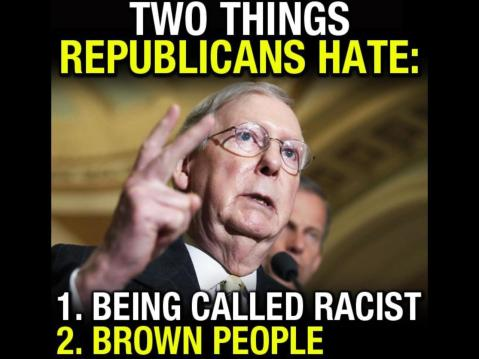 """Two things Republicans hate: 1. Being called racist, 2. Brown people."""
