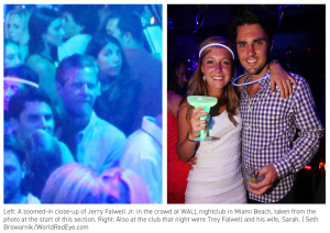 Remember: Junior's largest salary comes from being president of a religious school that forbids drinking and dancing, among other things. So why are he and his son partying at south Miami nightculbs?