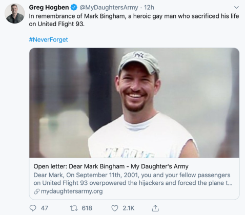 """In remembrance of Mark Bingham, a heroic gay man who sacrificed his life on United Flight 93."""