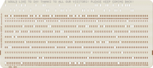 Punch-card to enter Fortran commants into a computer, circa 1976, when I (a computer professional with more than 3 decades experience) took the only computer science class I ever had...