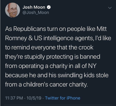 """AA Republicans turn on people like Mitt Romney & US intelligence agents, I'l like to remind everyone that the crook they're stupidly protecting is banned from operating a charity in all of New York state because he and his swindling kids stole form a children's cancer charity."""