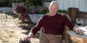 Patrick Stewart as retired Admiral Jean-Luc Picard, pensively petting his dog while his other hand rests on the stem of a wine glass.