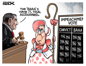 """Cartoon shows Senator McConnell dressed as Little Bo Peep, while Chief Justice Roberts tallies the impeachment vote and declarsem'The baaas have it, trail adjourned."""""""