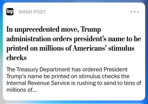 Trump's signature to be on stimulus checks, delaying mailing process: report