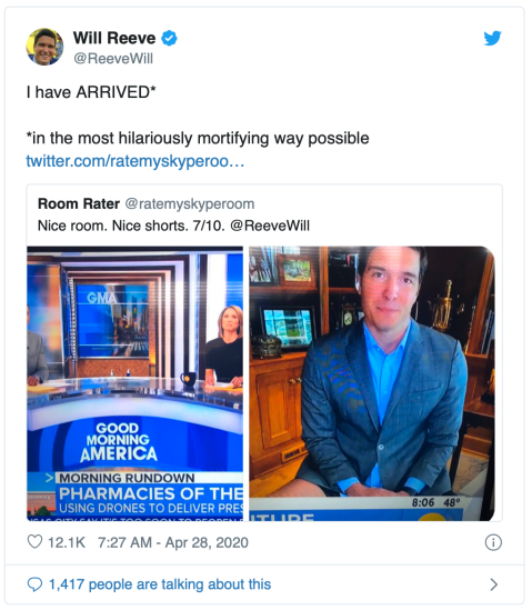 "Tweet by reporter Will Reeve: ""I have ARRIVED*  *in the most hilariously mortifying way possible"" attached is another tweet showing how Reeve failed to get away with not wearing pants during broadcast."