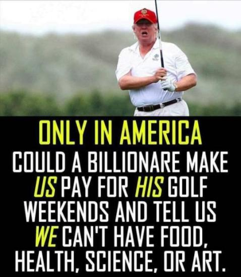 """Only in America could a billionaire make US pay for HIS golf weekends and tell us WE can't have food, health, science, or art."""