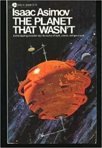 A tangerine-colored spherical space station spinning in the inky blackness of space. This is cover art for the 1977 Discus Editon of Isaac Asimov's 'The Planet That Wasn't'. Art by Dean Ellis