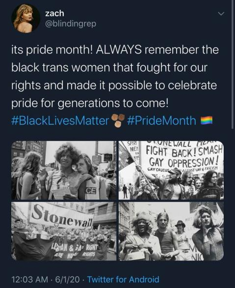 """It's Pride Month. ALWAYS remember the black trans women that fought for our rights and made it possible to Pride for Generations to come!"""