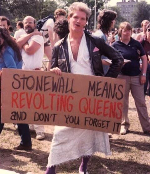 """""""STONEWALL MEANS REVOLTING QUEENS…AND DON'T YOU FORGET IT,"""" Gay & Lesbian Pride Parade, Boston, Massachusetts, June 1984. Photo c/o Men of All Colors Together collection, via @northeastern."""