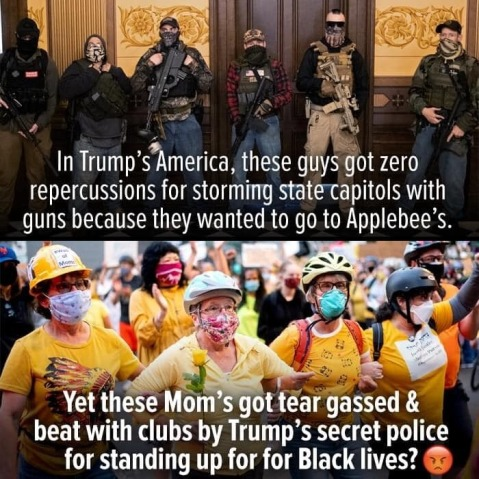 "Picture of gun-toting trumpers protesting quarantine orders: ""In Trump's America, these guys got zero repercussions for storming state capitols with guns because they wanted to go to Applebees.""  Then a picture of the Wall of Moms: ""Yet these Moms got tear gassed & beat with clubs by Trump's secret police for standing up for Black lives?"""