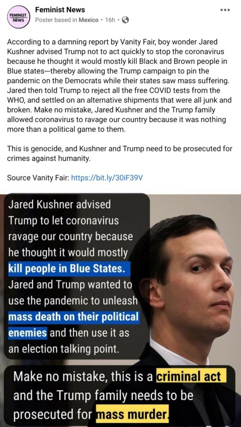 Jared Kushner encouraged the president to let the pandemic rage because he thought it would only kill people in blue states.