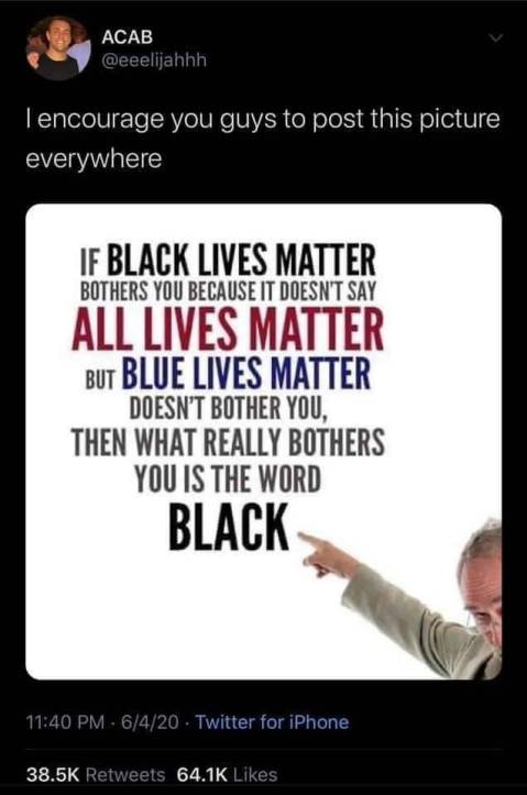 """If Black Lives Matter bothers you because it doesn't say All Lives Matter, but Blue Lives Matter doesn't bother you, then what really bothers you is the word BLACK."""