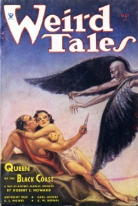 "Cover for the May 1934 issue of Weird Tales. Cover story: ""Queen of the Black Coast"" by Robert E. Howard. Cover art by Margaret Brundage. The male character is Conan the Barbarian. Brundage was the first artist to draw Conan, and continued to do so as more storied appeared in Weird Tales, earning her the nickname much later, ""The Frank Frazetta of the '30s and '40s."""