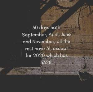 """30 days hath September, April June, and November, all the rest have 31, except for 2020 which has 5328"""