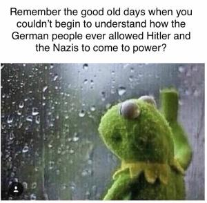 "Kermit the Frog looks pensively out a rain-spattered window. ""Remember the good old days when you couldn't begin to understand how the German people ever allowed Hitler and the Nazis to come to power?"""
