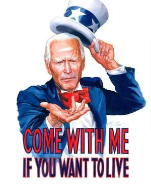 """Joe Biden as Uncle Sam, holding one hand out to you. """"Come with me if you want to live."""""""