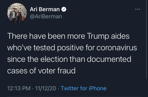 """There have been more Trump aides who have tested positive for coronavirus since the election than documented cases of voter fraud."""