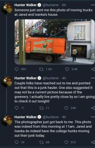 Photo of College Hunks Junk Haulers truck outside Jared and Ivanka Trump's D.C. townhouse.