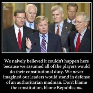 """""""We naively believed it couldn't happen here because we assumed all of the players would do their constitutional duty. We never imagined our leaders would stand in defense of an authoritarian madman. Don't blame the constitution, blame Replublicans."""""""