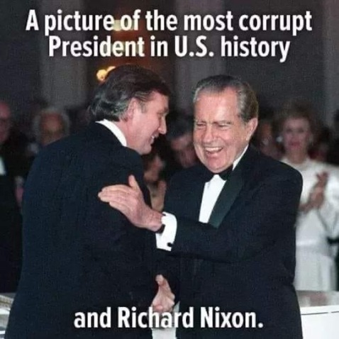 A picture of the most corrupt president in U.S. history and Richard Nixon.