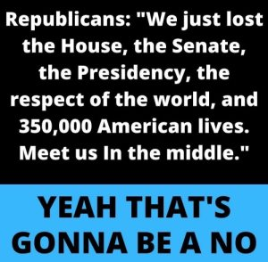 """Republicans: 'We just lost the House, the Senate, the Presidency, the respect of the world, and 350,000 American lives. Meet us in the middle.' Yeah, that's gonna be a no."""