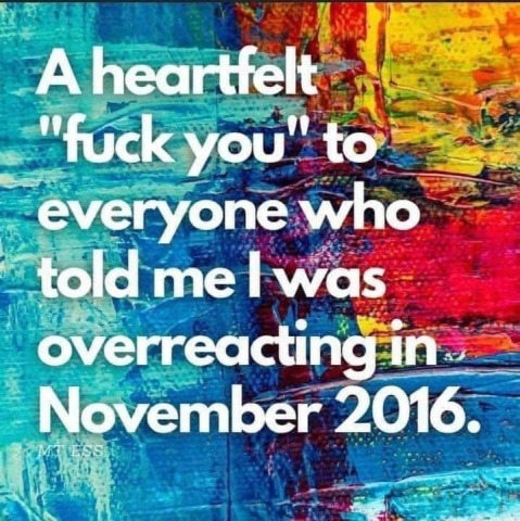 """A heartfelt 'fuck you' to everyone who told me I was overreactin in November 2016."""