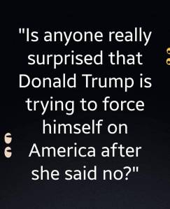 """Is anyone really surprised that Donald Trump is trying to force himself on America after she said no?"""