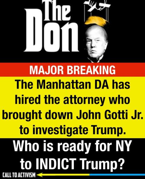"""The Manhattan DA has hired the attorney who brought down John Gotti Jr to investigate Trump. Who is ready for NY to INDICT Trump?"""
